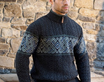 Irish Sweater - Half Zip Celtic Irish Sweater - 100% Soft Merino Wool - Made in Ireland