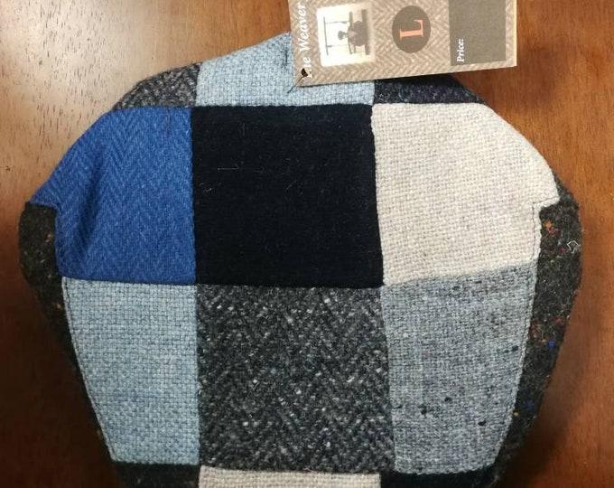 Size L , Irish Tweed Patchwork Flat Cap With Blue -Paddy Cap - Tweed Cap - Drivers Cap - Golf Cap - FREE WORLDWIDE SHIPPING