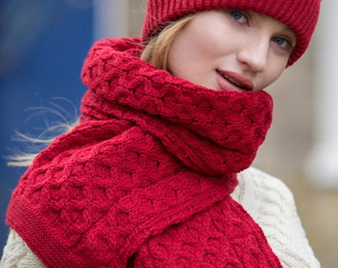 Red 100% Wool Scarf - Irish Honeycomb Aran Stitch Pattern