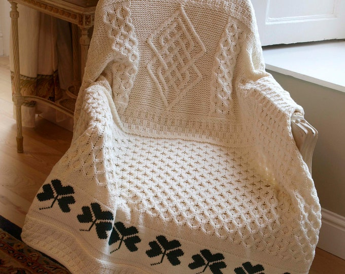 Aran Patchwork Wool Throw 52 x 62 inches