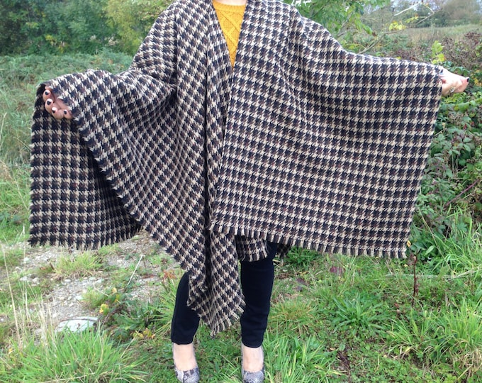 Irish Shawl - Celtic Wrap -  Ruana - 100% Irish Wool - Perfect throw over for cooler evenings - Brown Black and Tan
