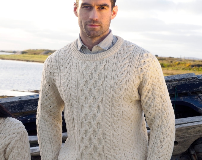Irish Fisherman Sweater - 100% Soft Merino Wool - Aran Island Pattern - Aran White Color