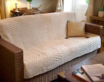 Aran Patchwork Wool Throw 52 x 62 inches