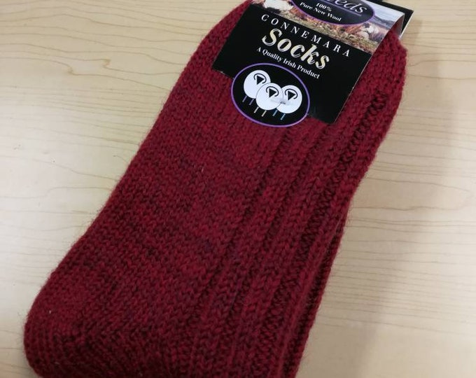 Wool Socks - Large Size USA size 8 1/2- 11 1/2,- 100% pure new wool - hiking socks, warm socks - unsex adult socks - Made in Ireland, red