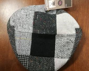 size X L, Irish Tweed Patchwork Flat Cap With Gray -Paddy Cap - Tweed Cap - Drivers Cap - Golf Cap - FREE WORLDWIDE SHIPPING