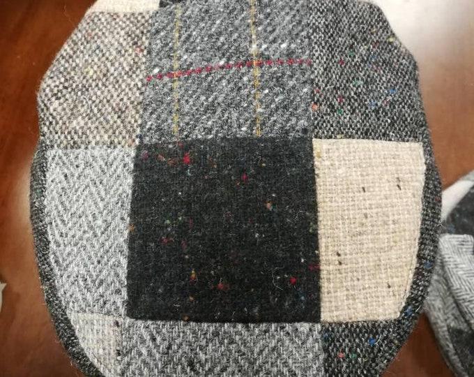 Size M, Irish Tweed Patchwork Flat Cap With Gray -Paddy Cap - Tweed Cap - Drivers Cap - Golf Cap - FREE SHIPPING