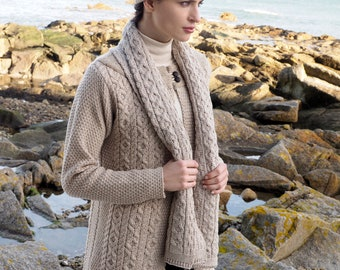 Oatmeal 100% Wool Hat - Irish Honeycomb Aran Stitch Pattern - Unisex Hat Beanie