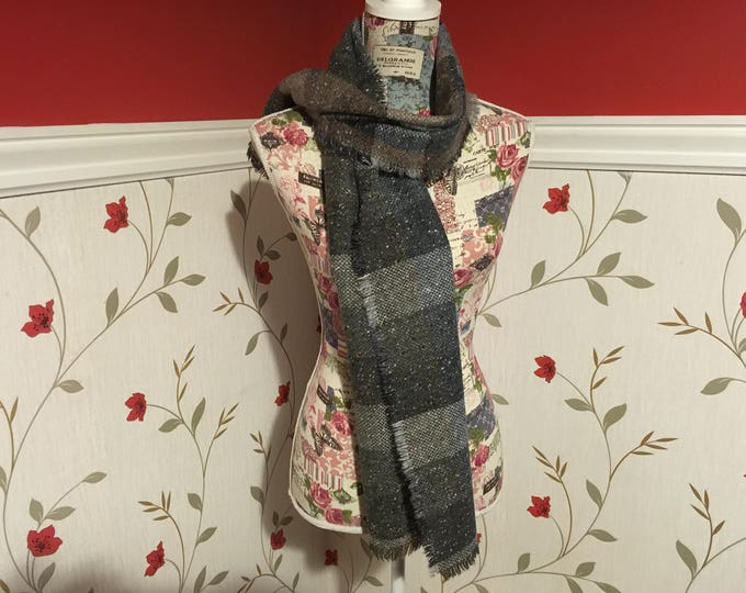 Wool Scarf Shawl - Irish Tweed - Ladies scarf - Womans - 100% wool - Soft - Brown blue green grey plaid tartan checked