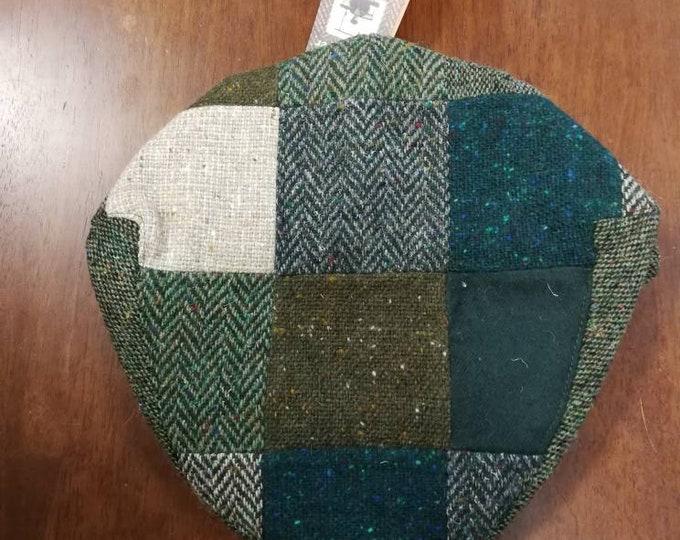size X L, Irish Tweed Patchwork Flat Cap With Green -Paddy Cap - Tweed Cap - Drivers Cap - Golf Cap - FREE WORLDWIDE SHIPPING