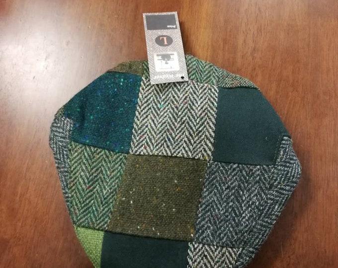 Size L , Irish Tweed Patchwork Flat Cap With Green -Paddy Cap - Tweed Cap - Drivers Cap - Golf Cap - FREE WORLDWIDE SHIPPING