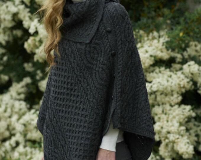 Irish Cowl Neck Poncho - Aran Island Style- Charcoal