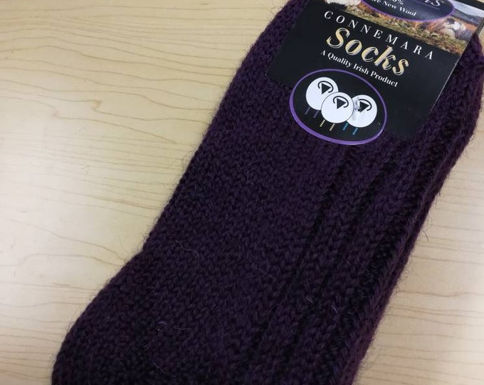 Wool Socks - Medium Size USA size 5 1/2-8 1/2 - 100% pure new wool - hiking socks, warm socks - unsex adult socks - Made in Ireland purple