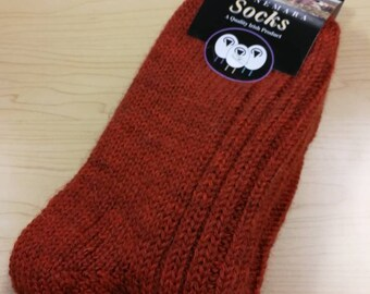 Wool Socks - Large Size USA size 8 1/2- 11 1/2,- 100% pure new wool - hiking socks, warm socks - unsex adult socks - Made in Ireland, rust
