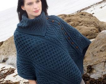 Irish Cowl Neck Poncho - Aran Island Style- Mallard Blue