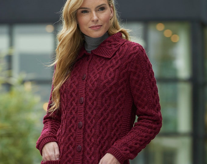 Irish Cardigan - Traditional Aran pattern - 100% Merino Wool - Red Fushia Color - Only Size L left