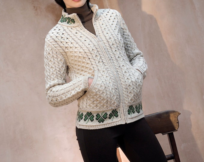 Irish Cardigan - Traditional Aran pattern - 100% Merino Wool - Lucky Shamrock  - Only Size m left