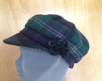 Ladies Newsboys Cap Hat - 100% Tweed Wool - Donegal Tweed Hats - Womens Irish Bakerboy Hats -Tartan Newsboy Cap - Plaid