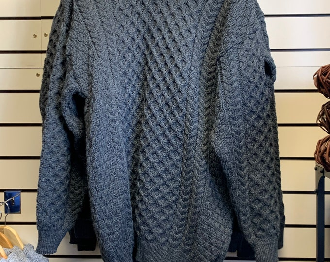 Irish Fisherman Sweater - 100% Soft Merino Wool - Aran Island Pattern - charcoal color