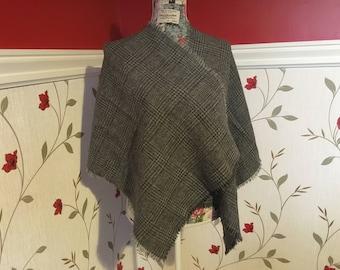 Irish Shawl - Celtic Wrap - Stole - 100% Irish Wool - Grey Tartan - Gray Plaid - Grey Checked