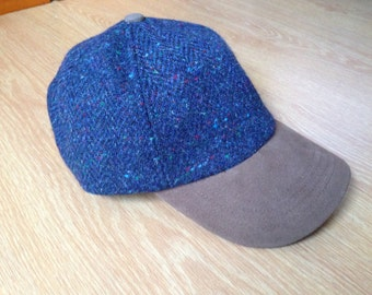 Genuine Suede Peak Tweed Baseball Cap  - 100% Blue Tweed with fleck