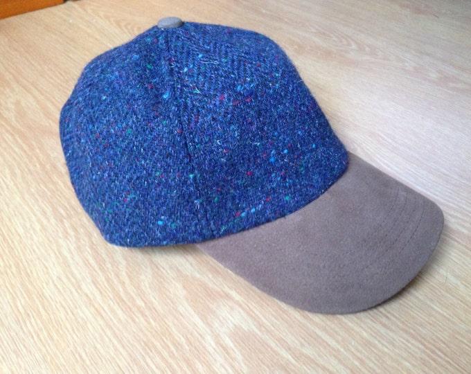 Genuine Suede Peak Tweed Baseball Cap  - 100% Blue Tweed with fleck