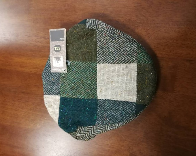 Size X X L, Irish Tweed Patchwork Flat Cap With green -Paddy Cap - Tweed Cap - Drivers Cap - Golf Cap - FREE WORLDWIDE SHIPPING