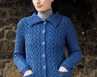 Irish Cardigan - Traditional Aran pattern - 100% Merino Wool - Stunning Shade of Blue