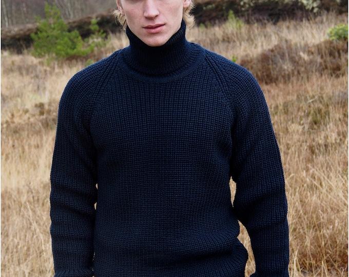 Irish Sweater - Dark Navy Submarine style with Polo Neck - Ribbed Irish Stitch - Fisherman Sweater - 1960's Spy