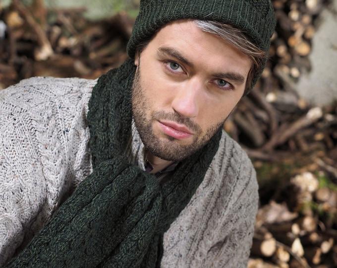 Green 100% Wool Hat - Irish Honeycomb Aran Stitch Pattern - Unisex Hat Beanie