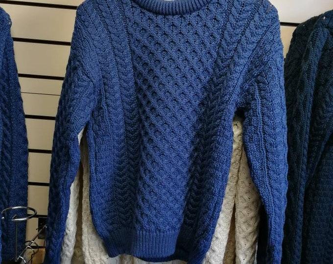 Irish Fisherman Sweater - 100% Soft Merino Wool - Aran Island Pattern - blue color