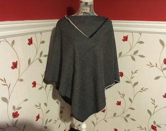 Wool Poncho -100% Wool - Grey Black Herringbone- Size S to M ( ideal for up to 5 ft 6 tall) - Two Styles can be worn