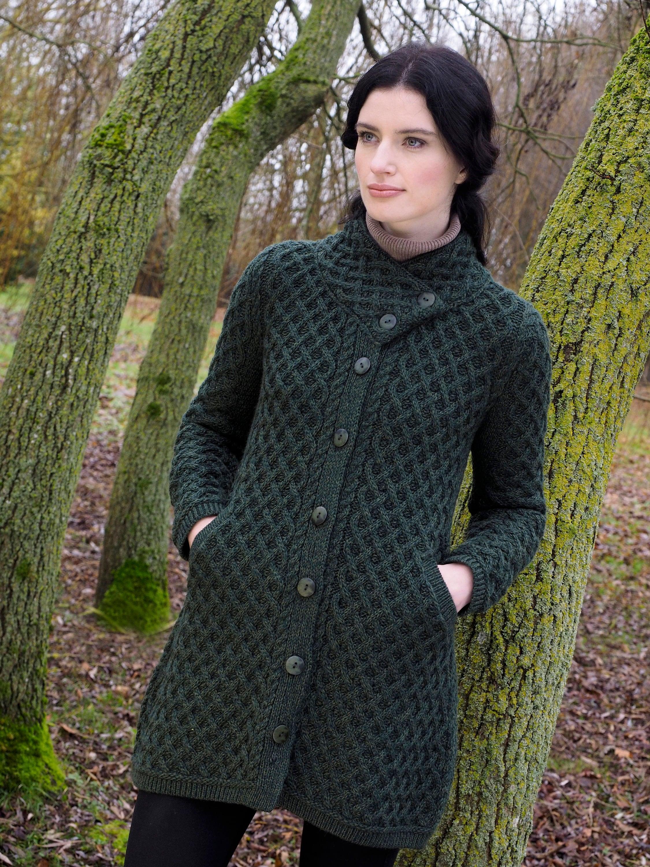 dedb9d38141 Irish Aran Coatigan with stylish Button Collar - 100% Merino Wool ...