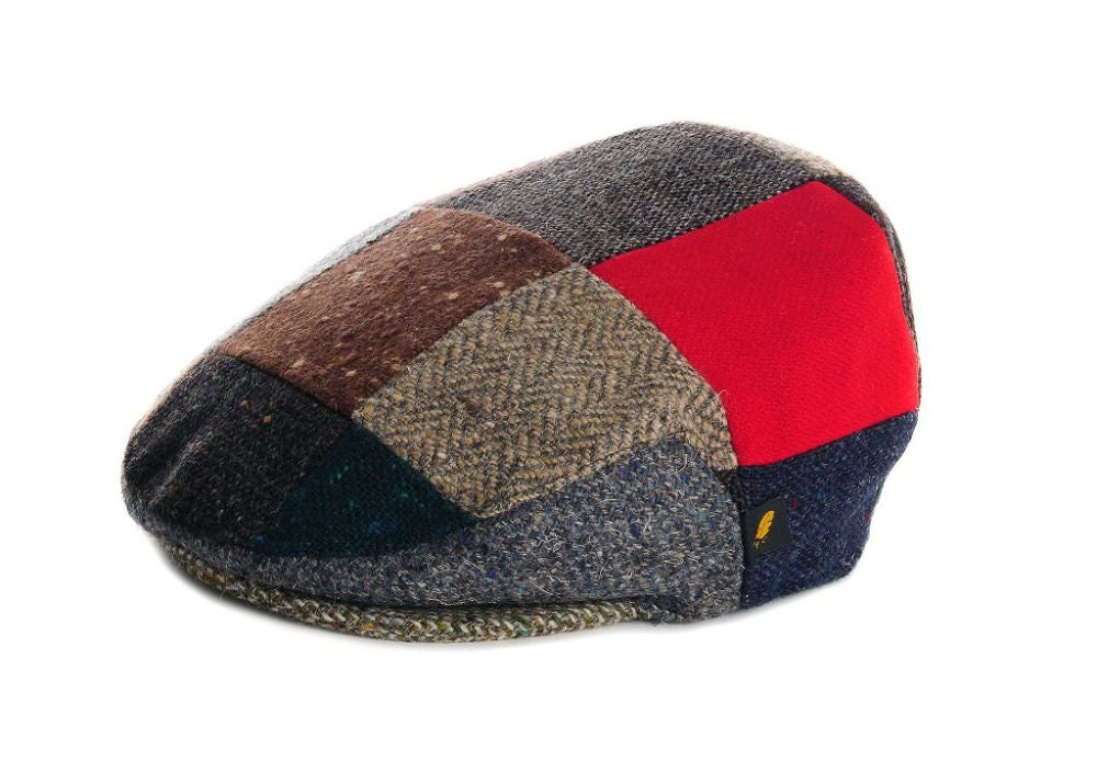 df0bd3e1b Authentic Irish Tweed Flat Cap - Random Patches with Red- 100 ...