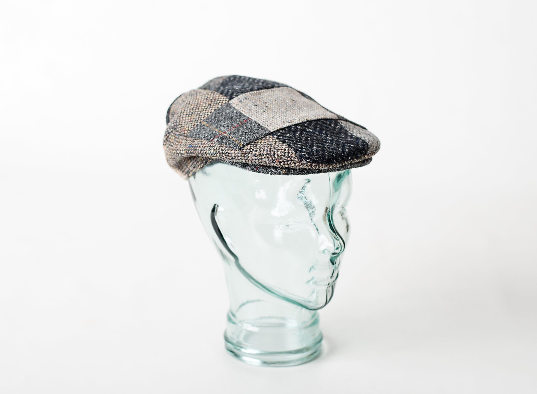 ba4e31610c1 Authentic Irish Tweed Patchwork Flat Cap With Gray -Paddy Cap ...