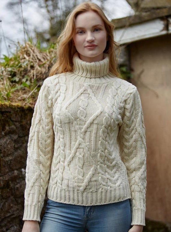 a548e9f5a Ladies Irish Sweater Aran White with Polo Neck Aran