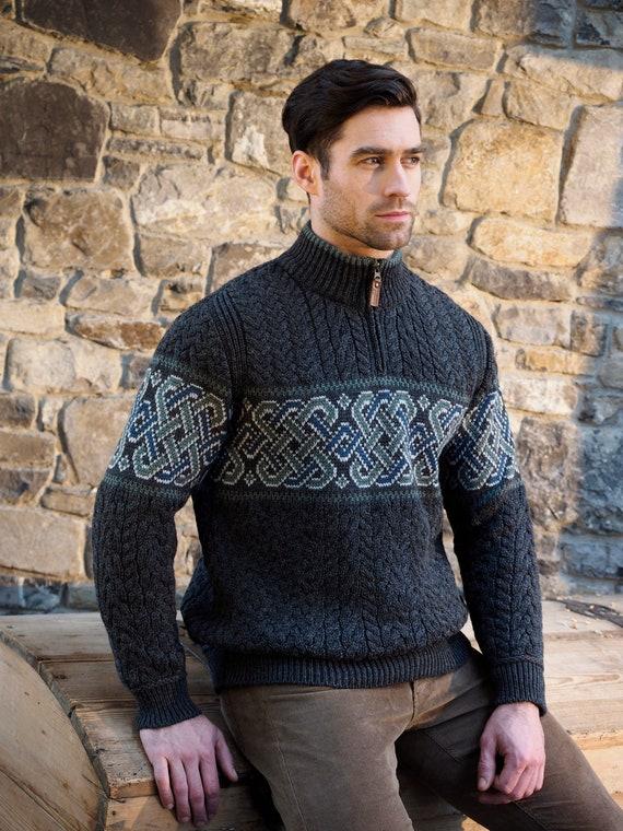 dauerhafte Modellierung 2019 am besten verkaufen gut Irische Pullover - halbe Zip keltische irische Pullover - 100 %  Merino-Wolle - hergestellt in Irland