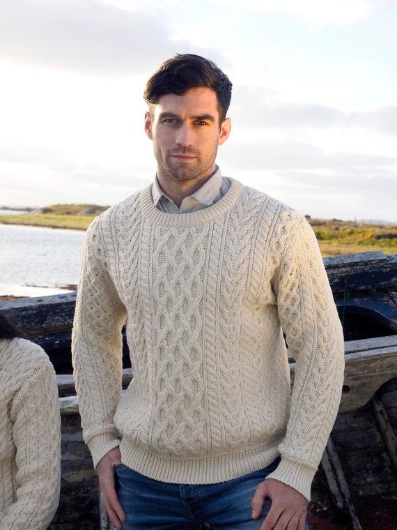 zuverlässiger Ruf heiße Angebote ästhetisches Aussehen Irische Fischer Pullover - 100 % weicher Merino Wolle - Aran Insel Muster -  Aran weiße Farbe