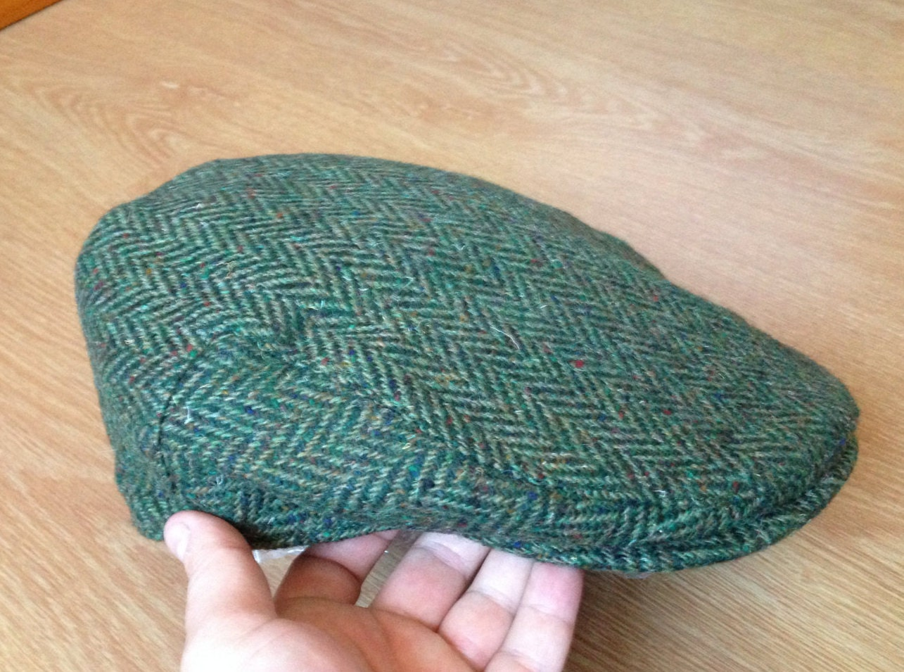 Authentic Irish Tweed Flat Cap - Green Herringbone - 100% Donegal ... a5beb520d620
