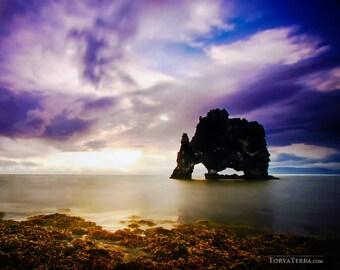Iceland Sunrise Seascape at Hvítserkur Volcanic Seastacks Cloudy Sky Midnight Sun Summer Scenic - Landscape Photography