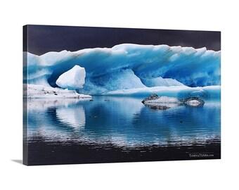 Canvas Print of Iceland Pure Blue Icebergs Reflection Glacial Lake Vatnajökull National Park Icelandic - Landscape Photography