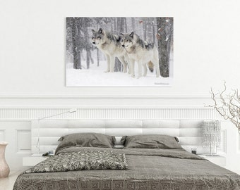Canvas Print of Wolf Couple in Snow Blizzard Woods Pair Northern Timber Wolves Wall Decor - Wildlife Photography