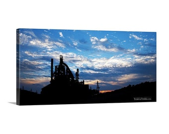 Canvas Print of Bethlehem Steel Pennsylvania Silhouette Cloudy Sunset Sky Wide Panoramic - Landscape Photography