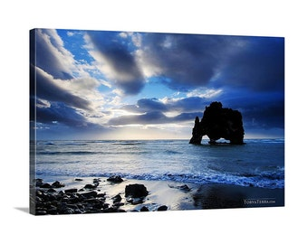 Canvas Print of Iceland Sunset Seascape Midnight Sun Cool Blue Tones Dark Cloudy Scenic Icelandic - Landscape Photography