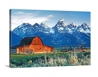 Canvas Print of Grand Teton NP Moulton Barn at Sunrise Spring Mountains Country Scenic Homestead Mormon Row Meadow - Landscape Photography