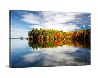Canvas Print of Maine Fall Color Lake Reflection Colorful Autumn October Blue Sky Puffy Clouds - Landscape Photography
