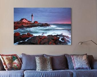 Canvas Print of Portland Head Lighthouse Maine Coastal Ocean Cape Elizabeth Atlantic - Landscape Photography