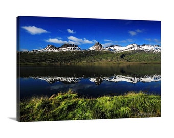 Iceland East Fjords Reflection Blue Cloudy Sky Snowtopped Snowcapped Mountains Lush Summer Grass Canvas Print - Landscape Photography