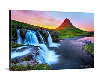 "Canvas Print of Iceland Midnight Sun at Kirkjufellsfoss Waterfall Glowing Summer ""Midnight Sunrise"" - Landscape Photography"