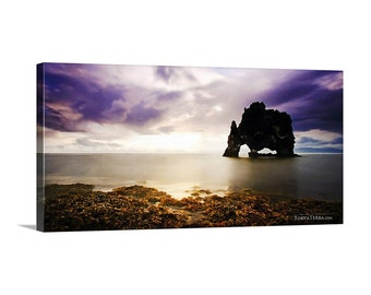 Canvas Print of Iceland Sunrise Seascape Seastacks Cloudy Sky Wide Scenic Panoramic - Landscape Photography