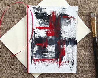 Abstract art card Oil painting on canvas Black white red abstract card Original art Hand painted greeting card Hand painted card Card Art